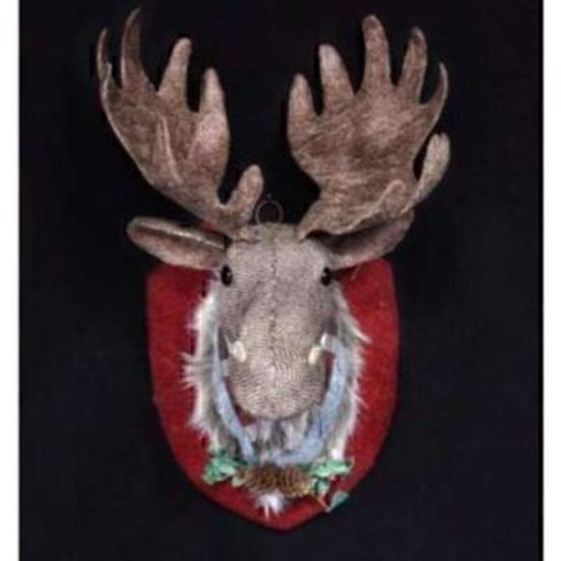 Mix your traditional and modern Christmas decorations with this fabric dressed Reindeer Moose Head plaque by designer Gisela Graham. Made from tweed fabric and decorated with holly and pine cones - it will be a statement Christmas decoration for your home. Size 43x23x20cm<br><br>