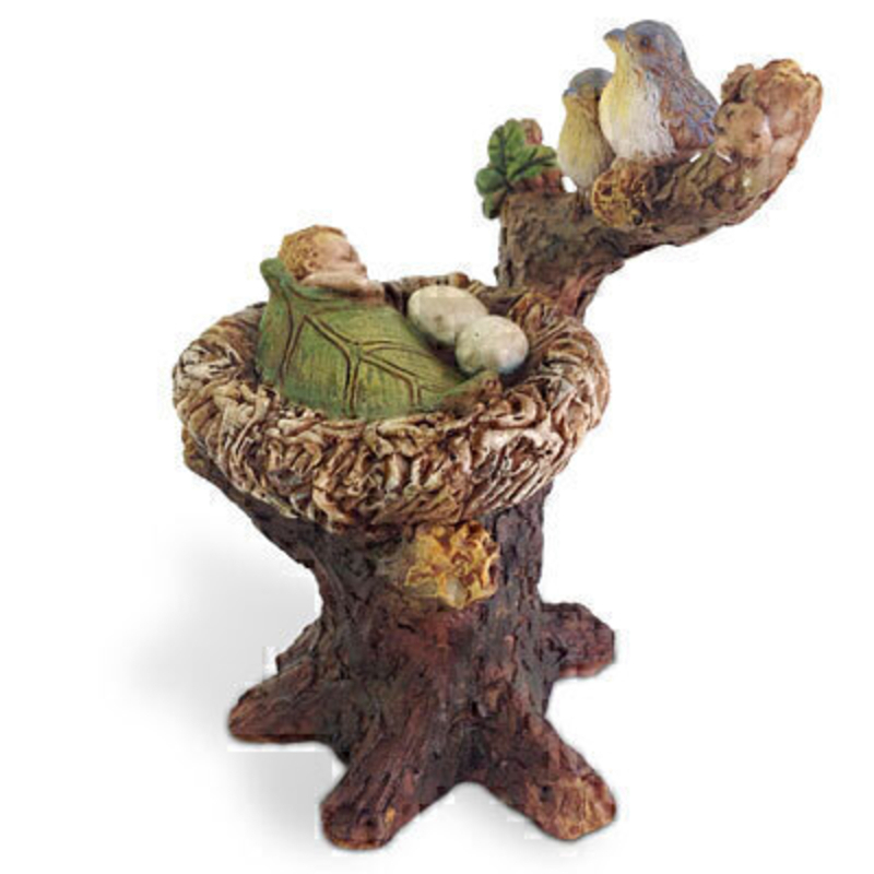 Cute birds sitting on a tree watching their nest which has two eggs and a cute baby fairy asleep and tucked up under a leaf.  This would be right at home in your miniature fairy garden either indoors our outdoors.