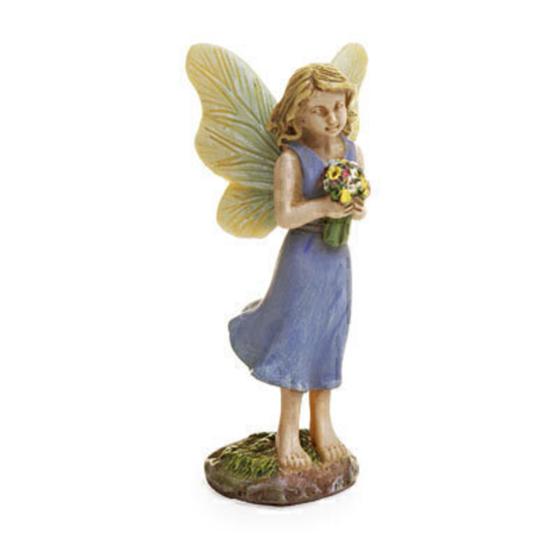 A classic Woodland Knoll miniature fairy with pale blue dress and wings that are brushed with pale blue. This sweet fairy is holding a bunch of woodland wildflowers. The fairy is  3.5 high x 2.5 wide with a 1 inch wire pick. This would be right at home in your miniature fairy garden either indoors our outdoors.