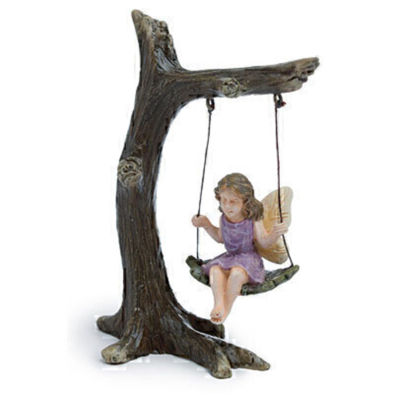 Miniature fairy garden tree swing with a sweet fairy happily swinging on her leaf. The tree is 4.5 high x 3 wide and the fairy is 2 inches high. This would be right at home in your miniature fairy garden.