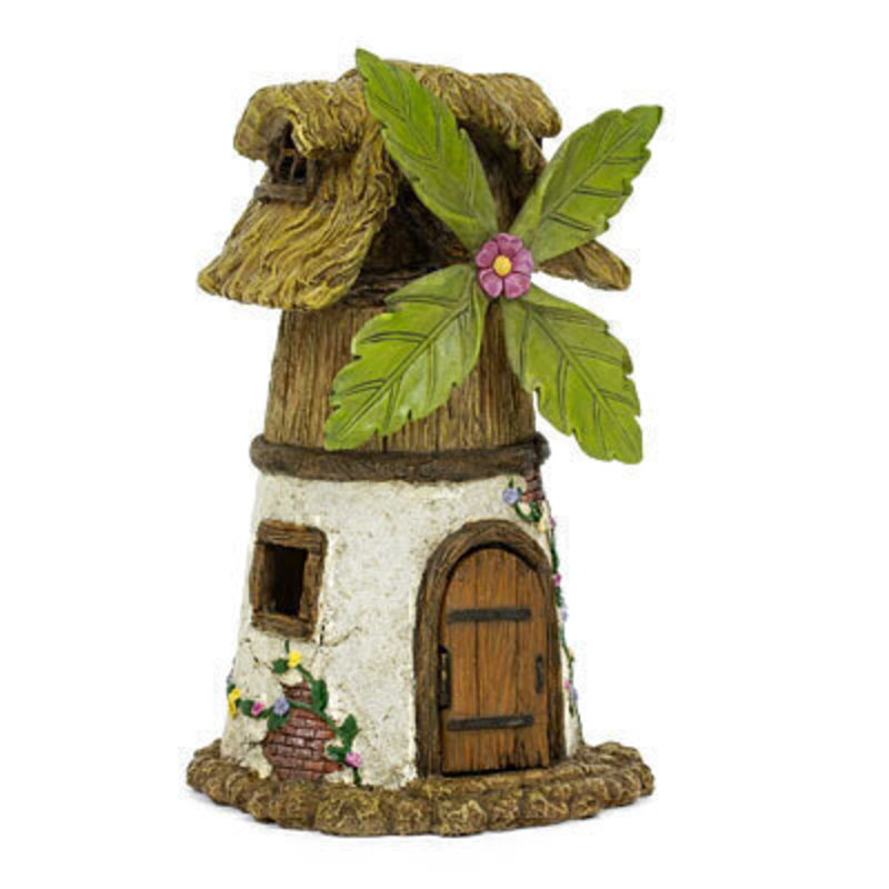 Miniature fairy garden windmill house from the Woodland Knoll collection.  The fairy cottage features a thatched roof four windows whimsical leaf windmill blades and a hinged door.  This is a house that is sure to delight the fairies in your garden. The house is 10 inches high x 6 inches wide and 6 inches deep. This would be right at home in your miniature fairy garden either indoors our outdoors.