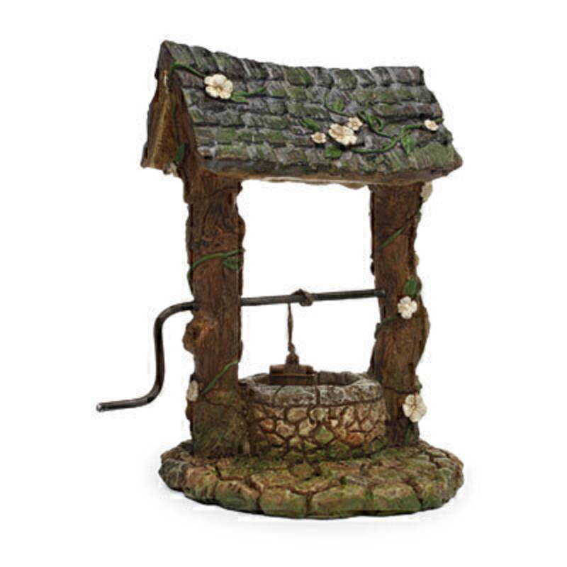 Miniature fairy garden wishing well with bucket. Fairies can move the bucket up and down the wishing well by moving the miniature handle. This would be right at home in your miniature fairy garden either indoors our outdoors.