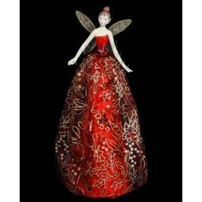 Fairy Tree Topper in Red and Gold Dress by Gisela Graham: Booker Gifts