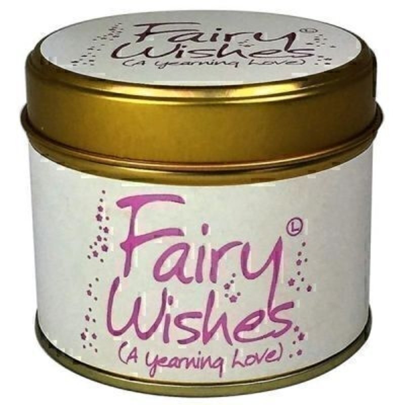 Fairy Wishes Scented Candle in Tin by Lily Flame. Let Lily flame transport you to a different place. Fairy Wishes- a Yearning Love. This shines with a light and mischievous swirl. Romantic wistful and classic- Notes of Rose Violet and Sweet Neroli- (and