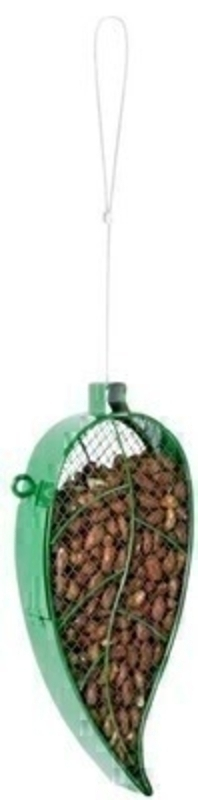 Fallen Fruits green leaf shaped nut feeder / birdfeeder. Easy to hang.  Can be filled with nuts from the top. Will look lovely hanging in any garden. Size: 13.0 x 4.8 x 28.1 cm