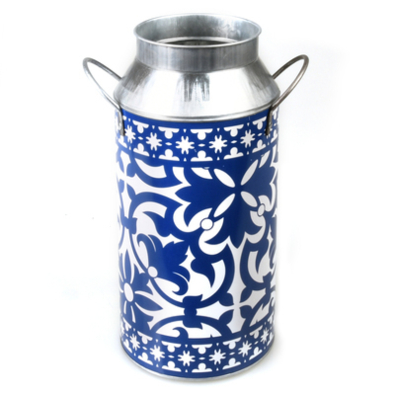 Metal milk churn with blue and white Portuguese design. Made by Fallen Fruits. This stylish milk churn would look lovely inside or outside.  The beautiful blue and white design will add atmosphere to any home or garden. Matching items with the same design are also available. Size: 21.8 x 16.6 x 33.4cm
