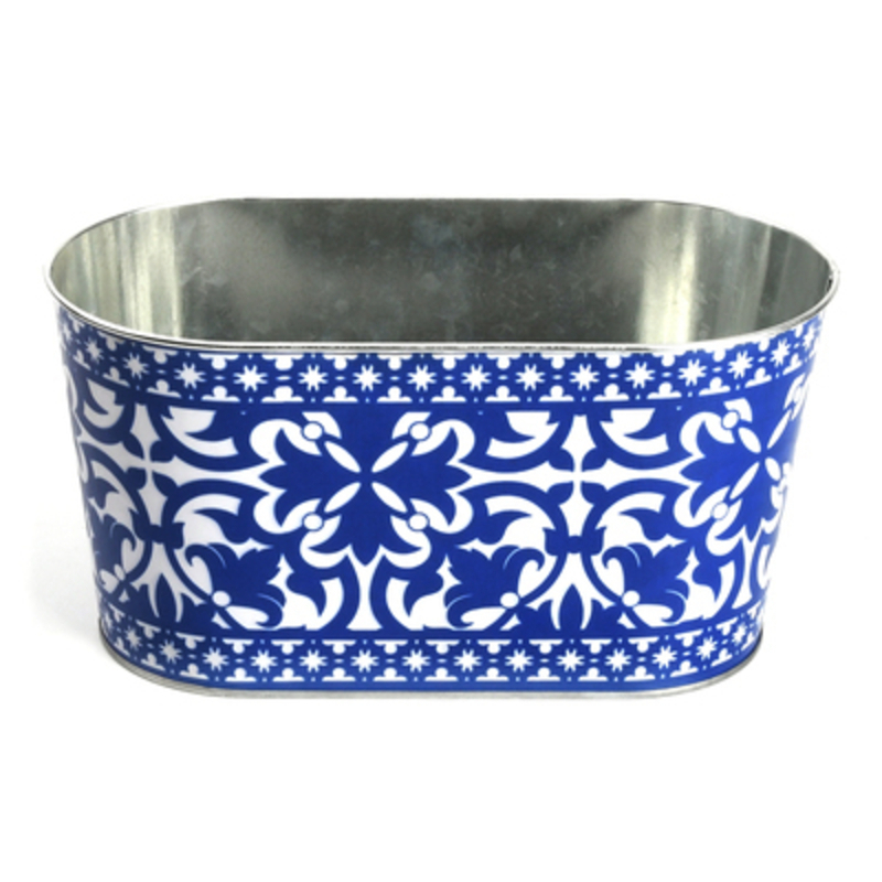 Fallen Fruits Blue and White Portuguese Oval Planter: Booker Gifts