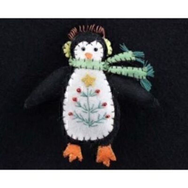 Felt stitched Christmas Penguin with a scarf hanging Christmas Tree decoration by designer Gisela Graham with wire to hang. A lovely addition to your Christmas decorations - this unique Christmas Decoration is stitched with a Christmas Tree design. Size 11x10.5x2cm<br><br>