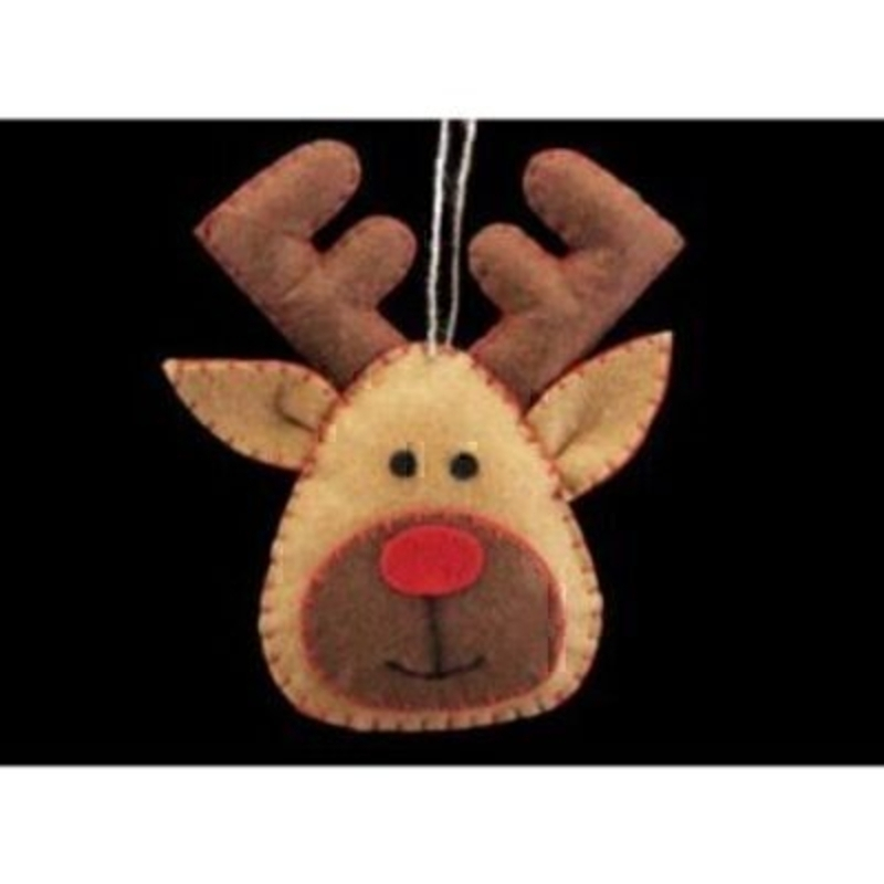 Gorgeous felt stitched Rudolph Reindeer head hanging Christmas Tree decoration by designer Gisela Graham. What a jolly addition to your Christmas decorationsGorgeous felt stitched Rudolph Reindeer head hanging Christmas Tree decoration by designer Gisela Graham. What a jolly addition to your Christmas decorations this would be. Sure to make everyone smile. Made with felt with red stitching. Size 13x7x1cm<br><br>