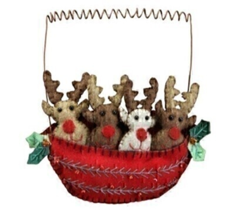 Felt Rudolph Reindeers In Boat Christmas Decoration by Gisela Graham: Booker Gifts