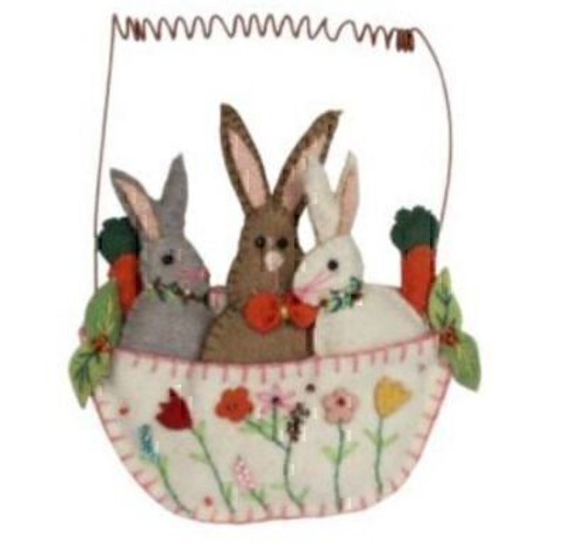 Felt Stitched Bunnies in a Basket Hanging Decoration: Booker Gifts