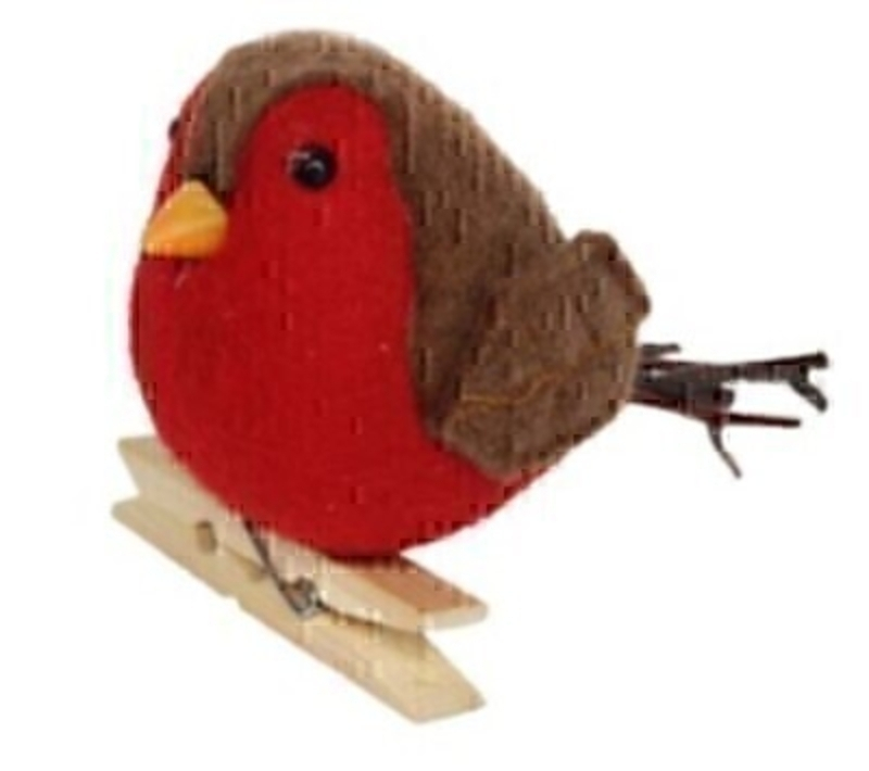 Festive Felt Robin on Peg Christmas Decoration by Gisela Graham: Booker Gifts