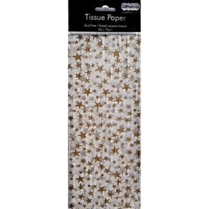 Festive gold star design tissue paper by Swiss designer Stewo.  3 sheets of coloured quality tissue wrapping paper. Acid free and bleed resistant tissue. Approx size: 50cm x 70cm
