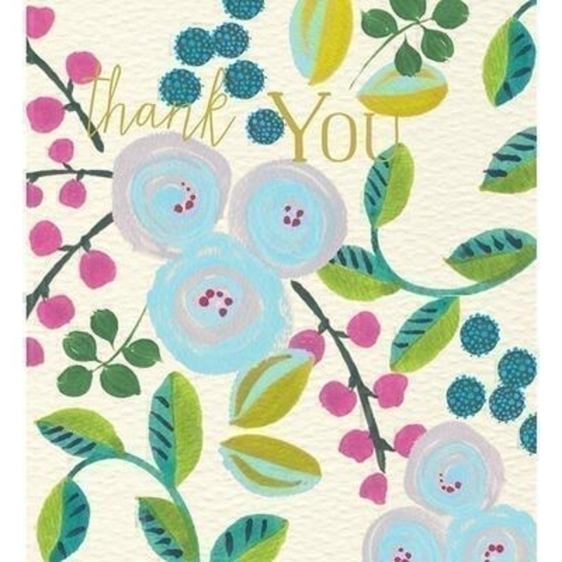 Flowers Thank You card by Liz and Pip. Express your gratitude with this beautiful and quality card.  Hot foil stamped with the words ''Thank You'' this card depicts abstract forget me nots. Blank inside for your own message. 120x132mm