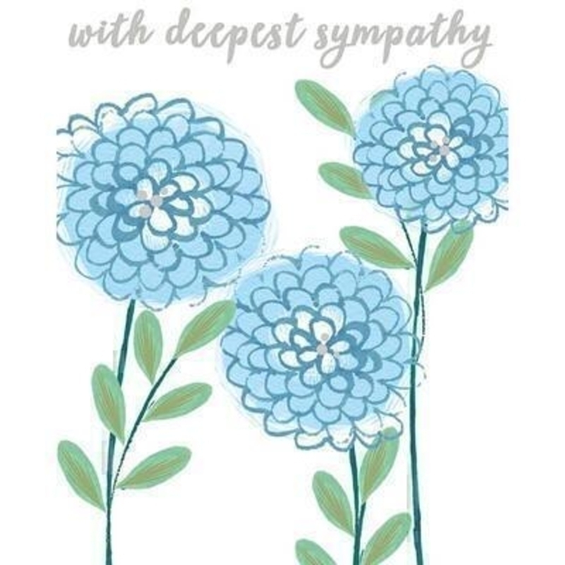Flowers With Deepest Sympathy card by Liz and Pip. This quality sympathy card is embossed and hot foiled stamped and depicts blue flowers. Blank inside for your own message. 120x150mm