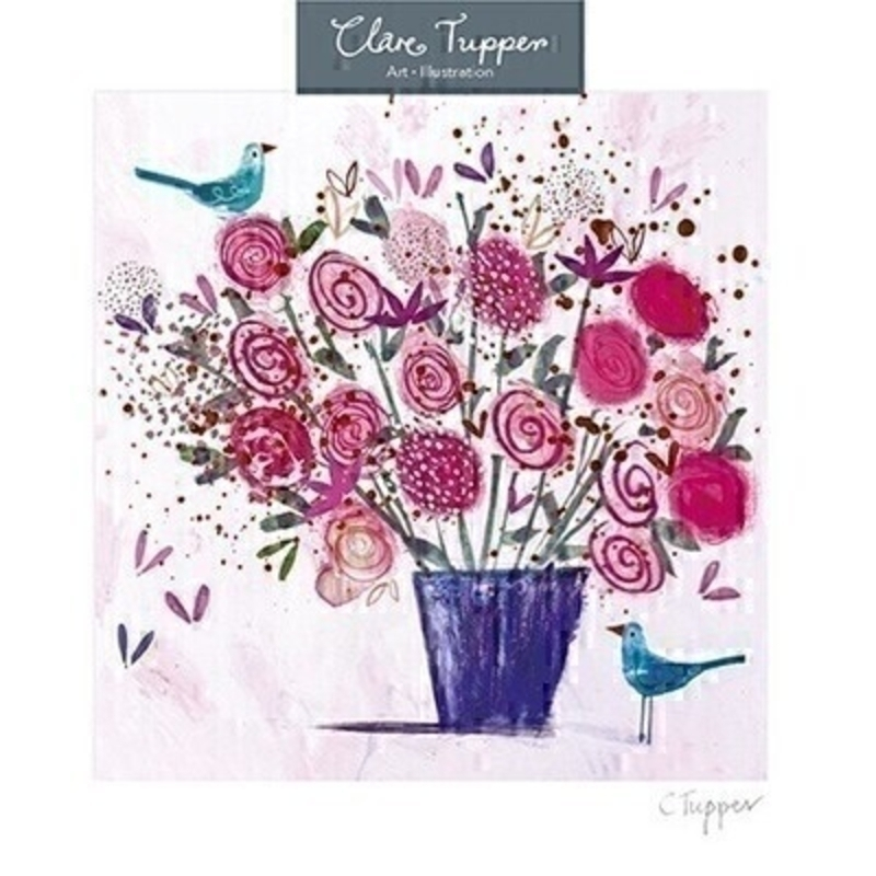 Flowers and Birds Blank Greetings Card by Paper Rose: Booker Gifts
