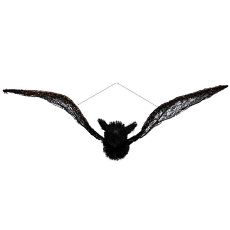 Flying Bat Bristle Halloween Hanging Ornament by Gisela Graham: Booker Gifts