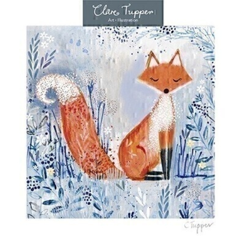 This blank greetings card from Paper Rose has an orange fox sitting in a blue field of flowers and a hint of gliter on the front.  Inside the card has been left blank so you can write your own message. It comes with an envelope and is a lovely card for someone who loves nature or foxes.