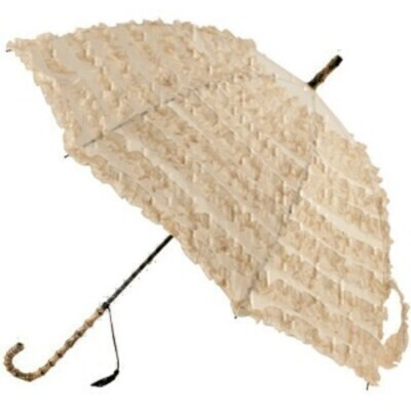 Frilly Beige Umbrella Fifi By Boutique STICK Umberella: Booker Gifts
