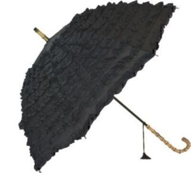 Frilly Black Umbrella Fifi By Blooming Brollies -stick: Booker Gifts