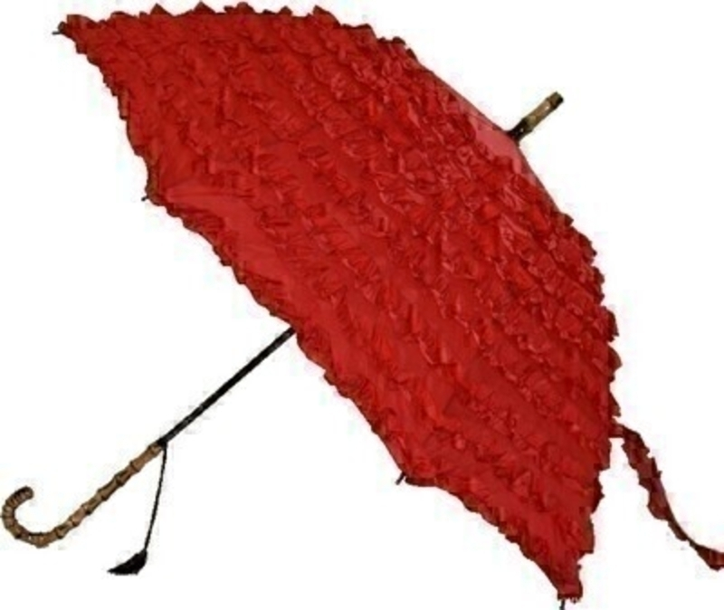 Frilly Red Umbrella Fifi By Boutique STICK Umberella: Booker Gifts