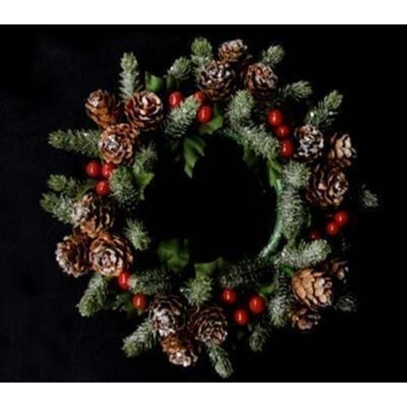 A wonderful addition to your dinner table this Christmas. Decorated red berries and pine cones and dusted with a frosting this traditional candle ring is timeless in style. Approx size 4x17x17cm