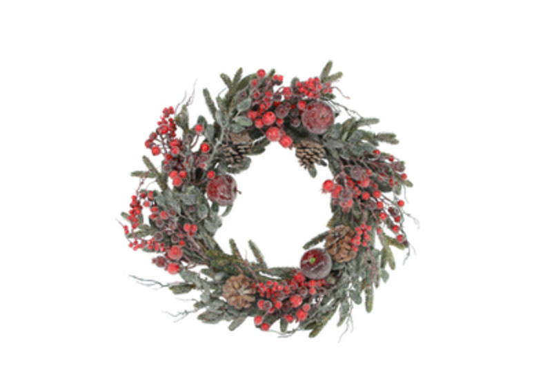 This Frosted Red Berry Fruit and Fir Door Wreath is by designer Gisela Graham.  This Christmas wreath is a statement piece all doors deserve. Would make an ideal gift for someone special or as a treat to yourself to hang on your front door or internal door or wall. It will delight for years to come and will compliment any Christmas deccorations  year after year. Remember Booker Flowers and Gifts for Gisela Graham Christmas Decorations. Matching Garland available.