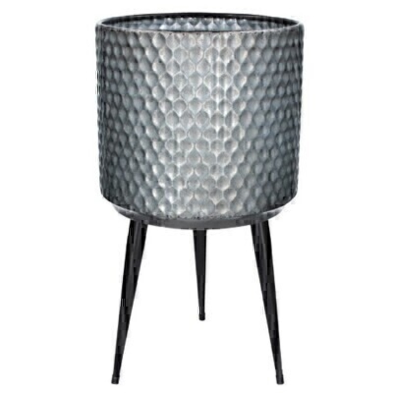 Galvanised Large Metal Pot Cover with Legs by Gisela Graham: Booker Gifts