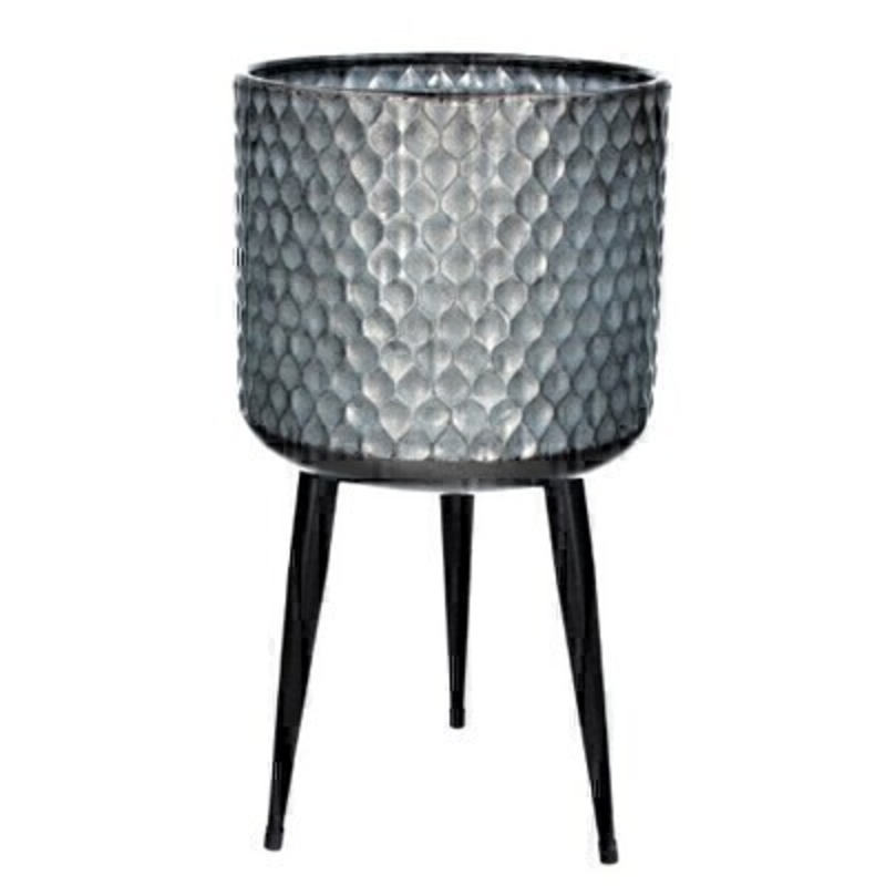 Galvanised Medium Metal Pot Cover with Legs by Gisela Graham: Booker Gifts