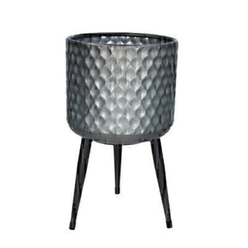 Galvanised Small Metal Pot Cover with Legs by Gisela Graham: Booker Gifts