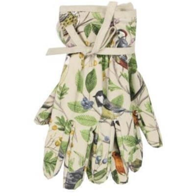 Cotton gardening gloves with a lovely bird and tree pattern printed on  By the designer Gisela Graham who designs really beautiful gifts for your garden and home. (LxWxD) 14x24cm