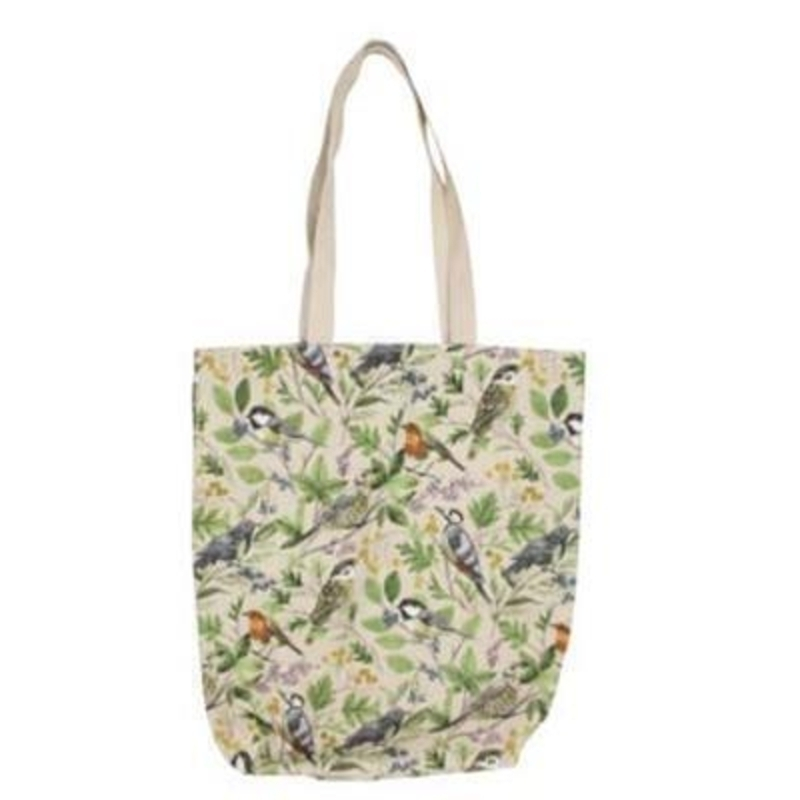 Shopper bag with a lovely bird and tree pattern printed on By the designer Gisela Graham who designs really beautiful gifts for your garden and home.(LxWxD) 38x40x11cm