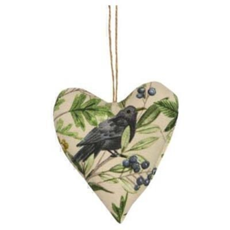 Lavender filled heart filled with lavender decoration with a lovely bird and tree pattern printed on By the designer Gisela Graham who designs really beautiful gifts for your garden and home. (LxWxD) 11x12.5x4cm