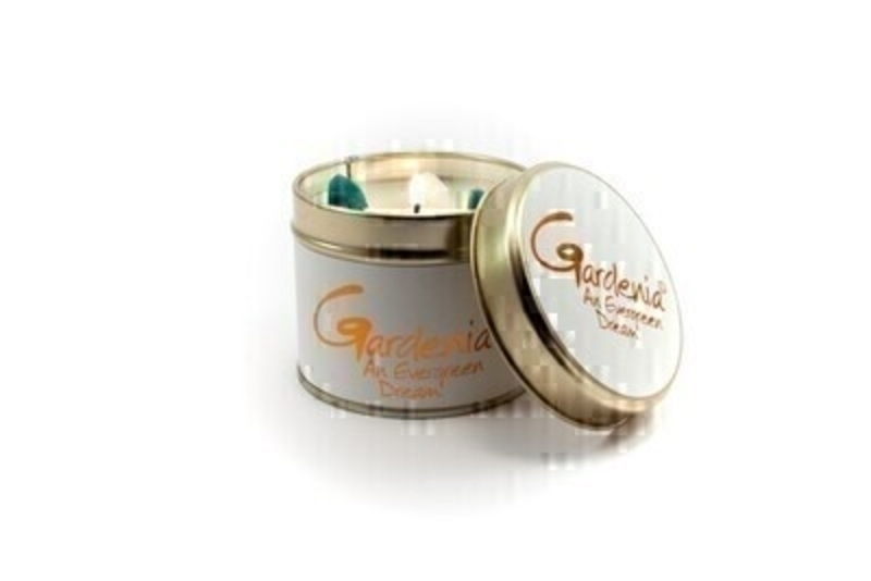 Let Lily Flame scented candles transport you to a different place - Gardenia; Bring the exotic far away tropical smells straight to your living room with the Gardenia scent. Burn Time 35 hours. Dimensions 7.7 x 6.6cm.