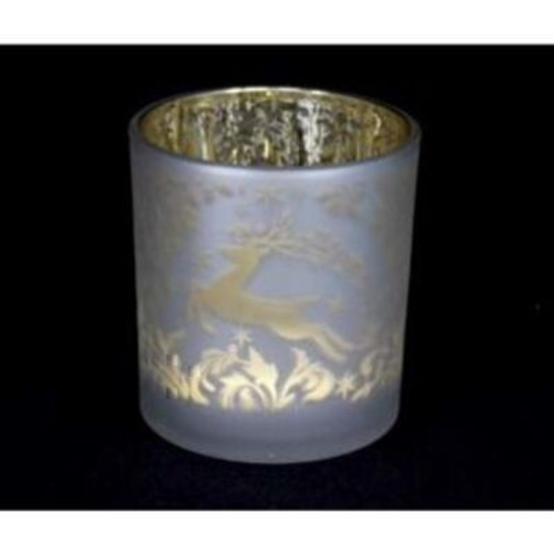 A beautiful opaque glass votive with a golden Christmas reindeer design by the designer Gisela Graham. This would be a lovely addition to your Christmas decorations - or even as a Christmas gift. A great candle holder to hold a T Light with give a beautiful festive glow. Size 8x7cm<br><br>