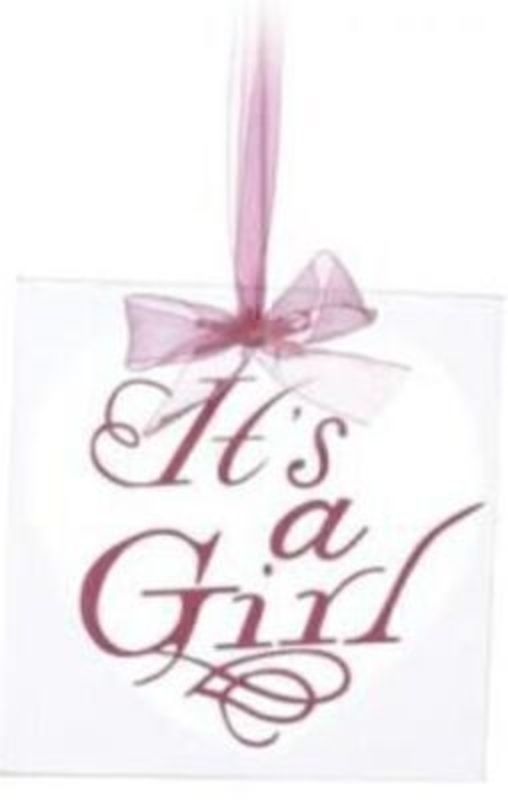 Glass tile to hang with 'its a Girl' caption written in heart