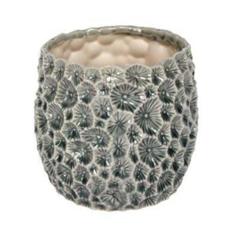 Vintage style grey glazed ceramic flower pot cover with textured design by Gisela Graham. Perfect for complementing your potted plants. Size 15x14x15cm