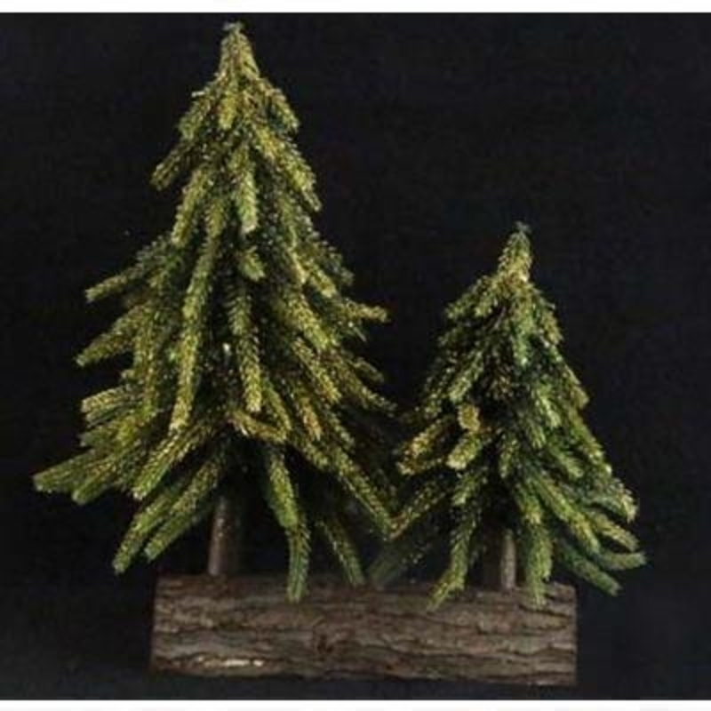 Glitter Double Fir Tree Ornament by Gisela Graham: Booker Gifts