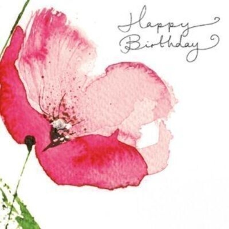 Glitter Poppy Happy Birthday Card by Paper Rose: Booker Gifts