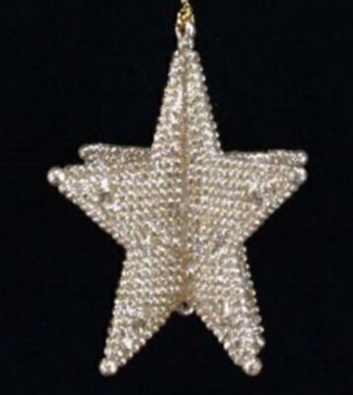 Pale Oyster Gold 3D Star Christmas Tree Decoration by Gisela Graham. Bead effect 5 point 3D star. Hanging Christmas Tree Decoration. This tasteful gold star is a really popular line and has been part of our best sellers list for years. Size 9x8x8cm<br><br>