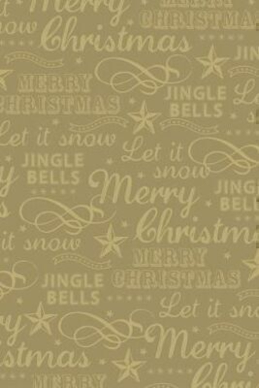 Gold Christmas roll wrap featuring Christmas carol words by Swiss designer Stewo. Quality wrapping paper. Metallised - 76gsm. Size 70cm x 1.5m.