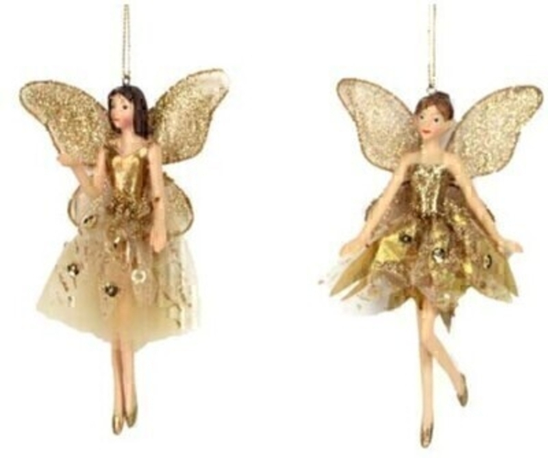 Gold Fairy Christmas Tree Hanging Decoration by Gisela Graham: Booker Gifts