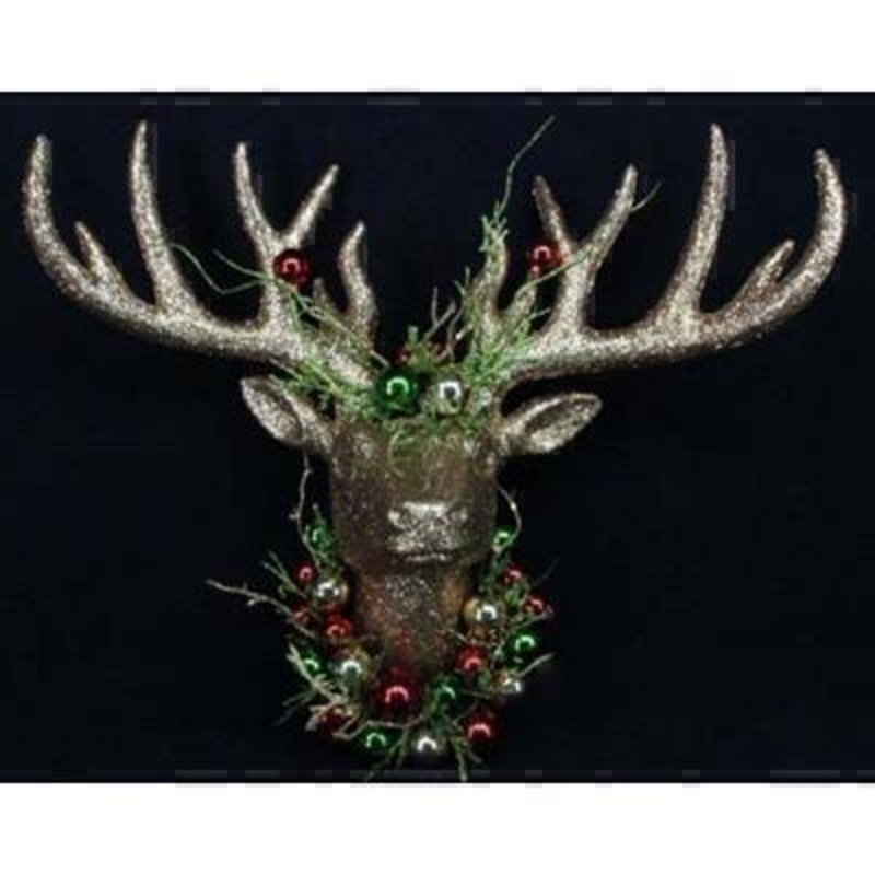 Gold Glitter Stag Head by Gisela Graham: Booker Gifts