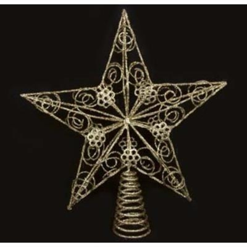 Add a touch of sparkle to the top of your tree. This ornate glittered gold star is sure to make a statement on your tree year after year. Approx size (LxWxD) 28x26x5cm