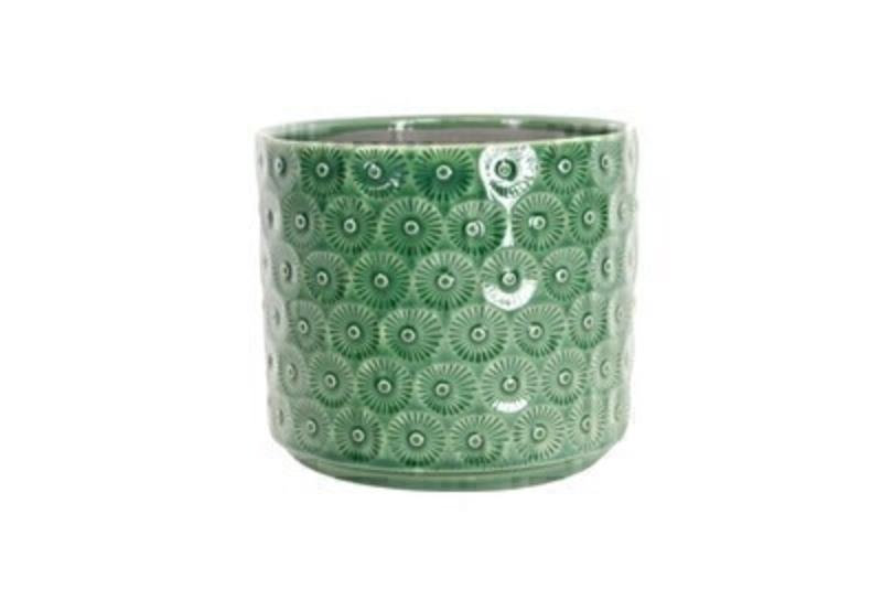 Green Daisy Ceramic Medium Pot Cover by Gisela Graham: Booker Gifts