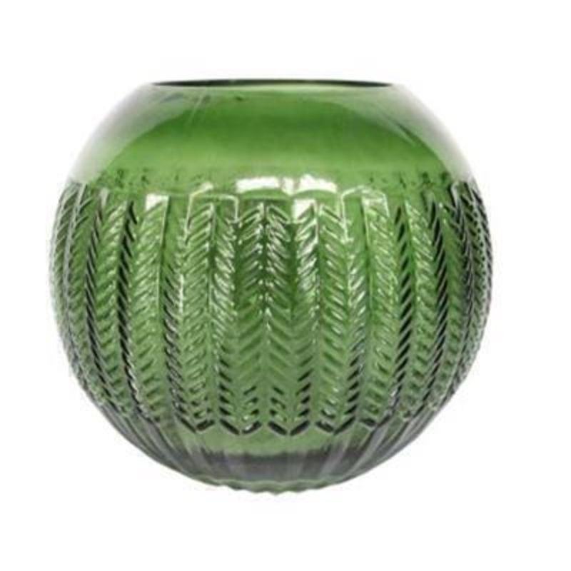 Patterned decorative clear Green Glass Chevron Globe Vase By the designer Gisela Graham who designs really beautiful gifts for your garden and home. 23x19cm