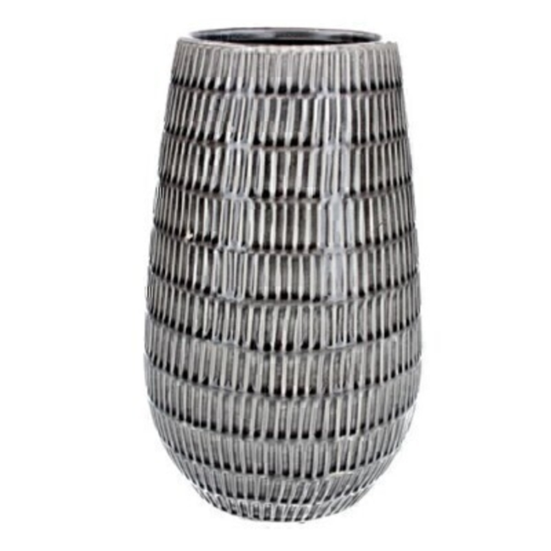 Contemporary grey ceramic modern dash large vase by Gisela Graham. This stunning vase is a statement piece all homes deserve. Would make an ideal gift for someone special or as a treat for your own home. Size (LxWxD) 19x32x19cm