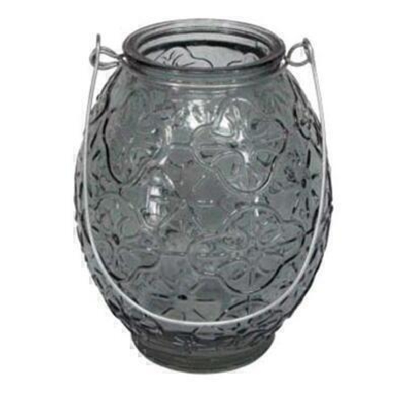 Grey Glass Lantern T-Lite Holder by Gisela Graham: Booker Gifts