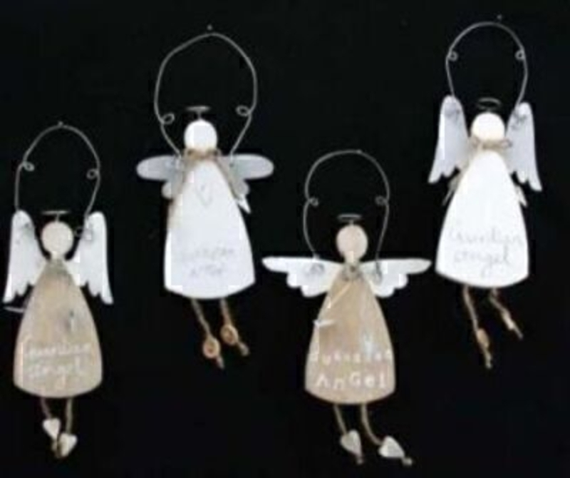 Wooden Guardian Angel hanging decorations by Gisela Graham in natural and white. Shabby Chic gifts for home - birthday - thinking of you or just because. 4 designs if preference please specify when ordering 1 - 2 - 3 - or 4 as seen from left to right. Size