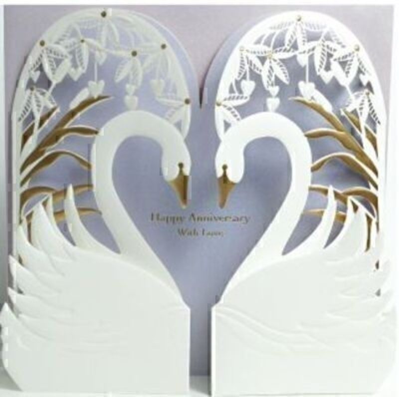 Happy Anniversary Card Two Swans by Paper Rose: Booker Gifts